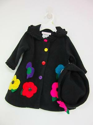 BONNIE BABY Black Ruffled Dressy Coat Girls Size 3-6 M - NWT