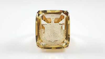 Vintage Art Deco 18Ct Yellow Gold Citrine Intaglio Signet Seal Ring Circa 1930