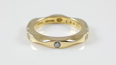 Georg Jensen #1261 Mirror Collection 18Ct Yellow Gold 3 Stone Diamond Ring