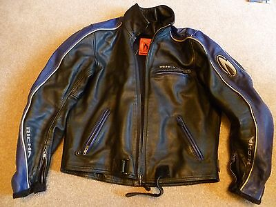 Men's Richa leather bike jacket blue / black size 42-44