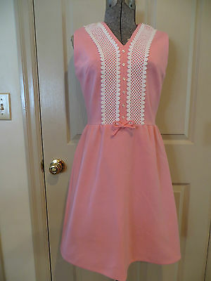 Vtg. 60's Sleeveless Knit Pink Lace Teena Paige Dress Excellent!