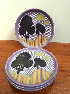 Set of x5 Deco Inspired  Denby Purple Trees Pattern Side/Salad Plates 1972