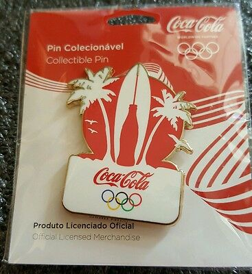 2016 Rio Olympic COCA COLA COKE BOTTLE SURFBOARD  pin