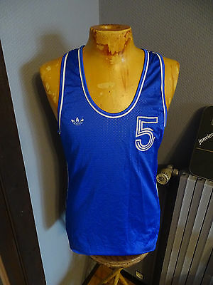 Ancien Maillot Basketball Adidas Ventex Port N°5 Basket Ball Annees 70