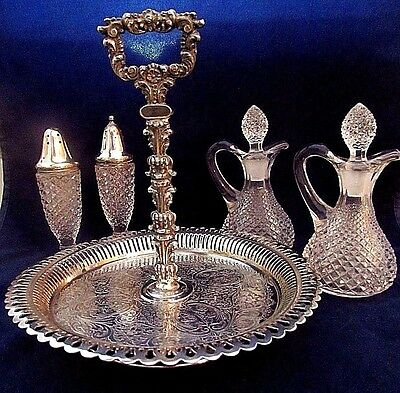 Vintage Wallace Brothers Silver Plated Ornate Cruet Set w Anchor Hocking Glass