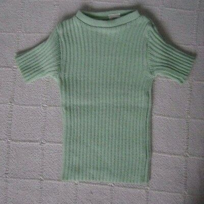 Vintage Girls Skinny Rib Jumper - Age 3-4 - Green - Short-Sleeve  - New