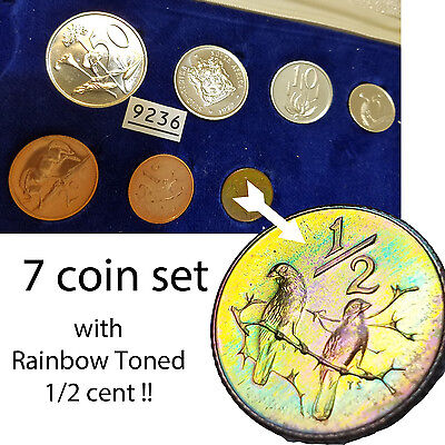 RAINBOW TONING  1972 South Africa  Proof Set 50C 20 10 5 2 1 1/2 cent no rand