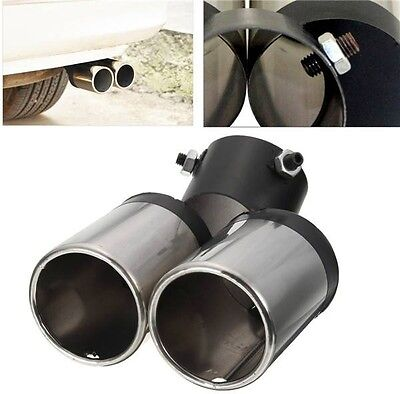 Universal Car Chrome Exhaust Muffler Tail Pipe Dual Tip 48-58mm Stainless Steel