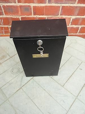Steel Square Post Box Black Mailbox Lockable Mail Wall Mounted
