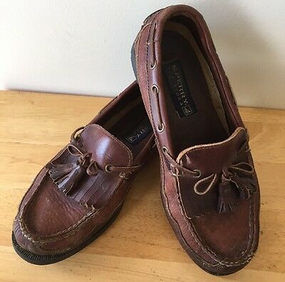 Sperry Top Sider Men's Brown Leather tassel loafer shoes size 9.5M B-6 0673418