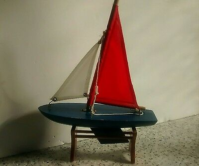 Childs vintage small wooden yacht