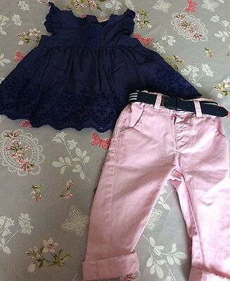 Girls M&S Summer Top and Chino Trousers 9-12 Months VGC