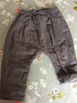 Girls Next Grey Cotton Trousers Lined 12-18 Months VGC