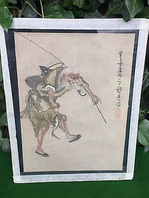 Stunning Antique Japanese / Chinese Watercolour on Silk, Fisherman Signed