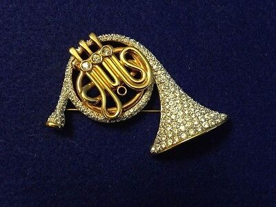 Swarovski Pin Brooch French Horn - gold plated, Swan insignia