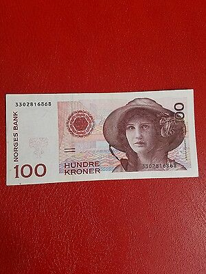 1995 norway banknotes 100 kroner extremely fine