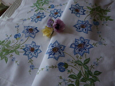 Vintage Embroidered Linen Tablecloth=Exquisite  Floral Embroidery