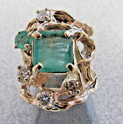 Beautiful Large Emerald and Diamond Estate Ring 14k Gold size 7   Make Offer