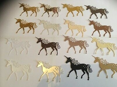 10 Die Cut Tattered Lace Unicorn Golds Mix For Christmas Craft