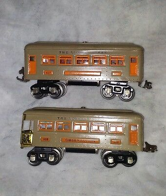 O Scale Lionel Pre-War Illuminated Pullman 607 Observation 608 passenger cars