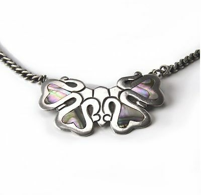 Vintage Taxco Sterling Silver Abstract Moth Pin / Necklace Signed J.D.
