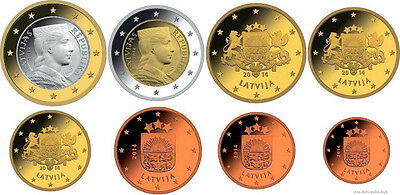 Latvia: Euro Coin set - 8 coins, 2014, UNC**, NEW from bank roll