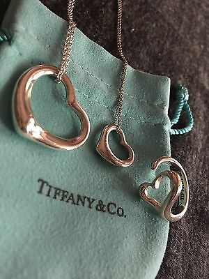Tiffany & Co Sterling Elsa Peretti Open Heart Necklace Ring Lot Of 3