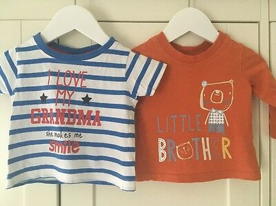 Baby Boys T-shirts 'Little Brother' & 'I Love My Grandma' Age 3-6 Months