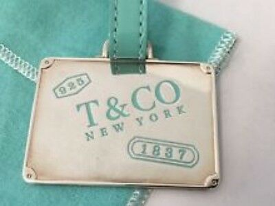 Tiffany & Co Sterling Silver Blue Enamel Luggage Tag And Bookmark