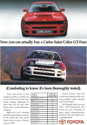 TOYOTA CELICA CARLOS SAINZ GT-Four Advert Rally Poster RARE Stunning Wall Art