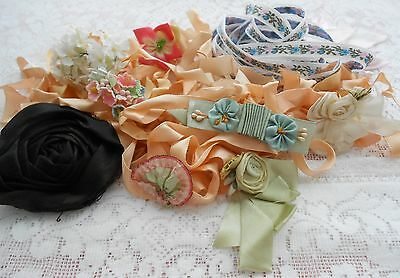 *****antique & Vintage Silk Flowers Ribbon Interesting Variety Lot - #2 *****