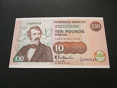 A/unc 1988 Clydesdale Bank £10 Note .  Dvy 087645