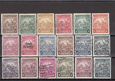 Barbados 1938 Badge of Colony Set SG248/256a & Various Others