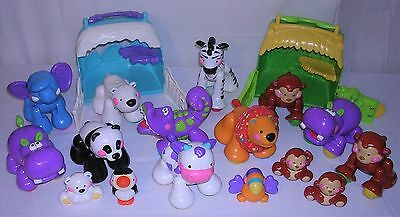 Lot of 16 Fisher-Price AMAZING ANIMALS and 2 Habitat Totes Clicker Toys