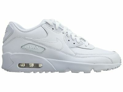 lowest price d7f4c fe955 Nike Air Max 90 Ltr 833412-100 Gs Youth All White Leather Premium Boys Retro