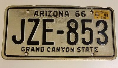 Vintage Arizona Grand Canyon State License Plate 1966 1967 1968 66 Black White
