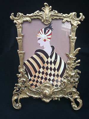 Lovely Vintage Brass Art Deco Geometric Lady Ornate Picture Frame