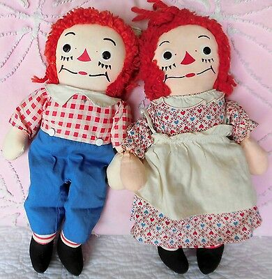 Heart Print dress! GEORGENE Raggedy ANN & ANDY 1950s  matched pair dolls VINTAGE
