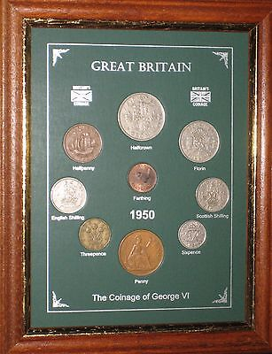 FRAMED 1950 COIN BIRTH YEAR GIFT SET VINTAGE 67th BIRTHDAY PRESENT (Rare Penny)