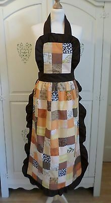 vintage 1970s hand made colourful patchwork long apron/pinafore, so Holly Hobbie