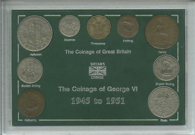 1945-1951 King George VI Second Type Great Britain Coin Collector Cased Gift Set