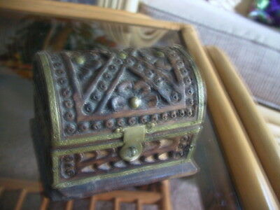 Collectable Carved wooden Pirate treaure chest style box