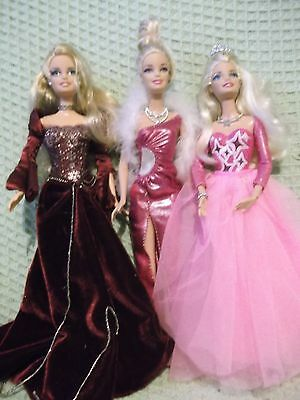 Barbie doll lot  Royal purple gown  Pink jointed princess  showgirl bling shoes