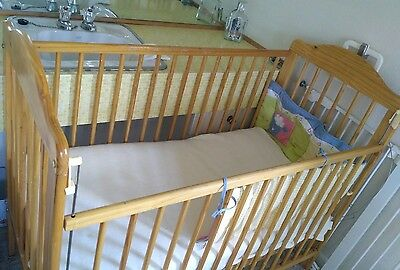 Mothercare Hereford pine cot with mattress and cot bumper