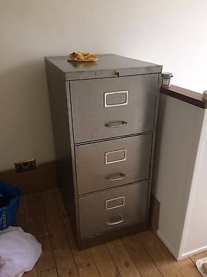Vintage Industrial Stripped Metal 3 Drawer  Filing Cabinet Storage With Key