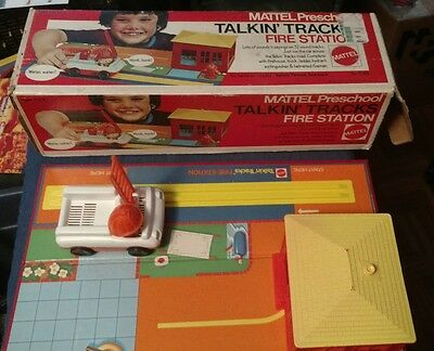Vintage 1973 Mattel 7068 Talkin Tracks Fire Station In Original Box