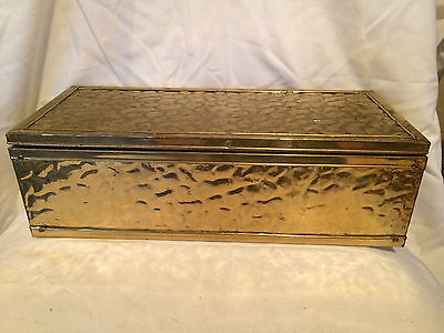 Lovely Vintage Hammered Brass And Wood Rectangle Box