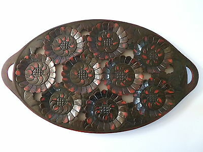 JAPANESE WOODEN TRAY-with CARVED WATER LILIES LACQUERED