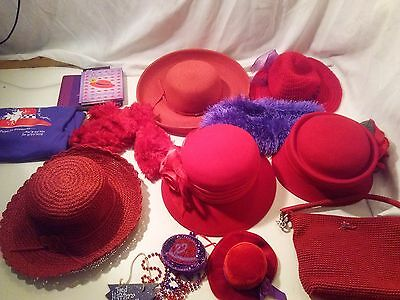 Red Hat Society Items * LOT includes 15+ Items * Wool Hats * Purse * T-Shirt *