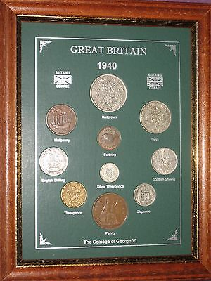 FRAMED 1940 COIN YEAR SET (RETRO 77th BIRTHDAY PRESENT WEDDING ANNIVERSARY GIFT)